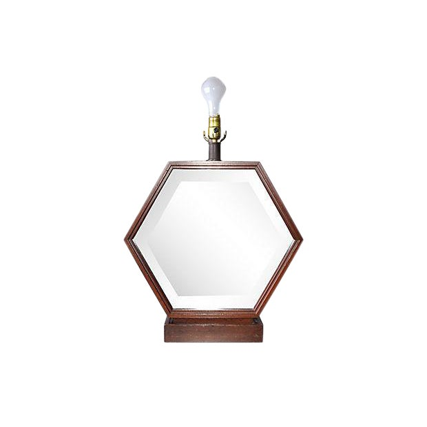 Hexagonal Wood Table Lamp For Sale