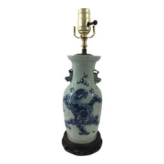 19th Century Chinese Export Vase Lamp With Dragon For Sale