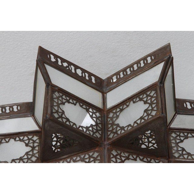 Moroccan Moorish Star Shape Frosted Glass Light Shade For Sale In Los Angeles - Image 6 of 10