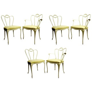 Set Six Patio Dining Chairs in Cast Aluminum by Crucible For Sale