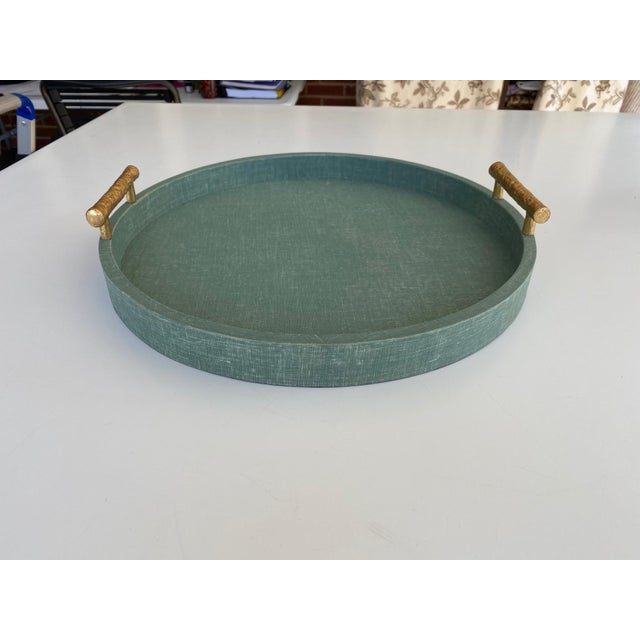 Medium Size Green Linen Wrapped Round Tray With Gold Handles For Sale - Image 4 of 4