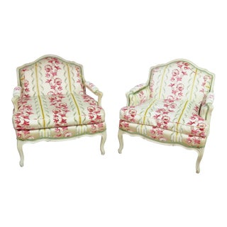 Louis XV Style Upholstered Bergere Chairs - a Pair