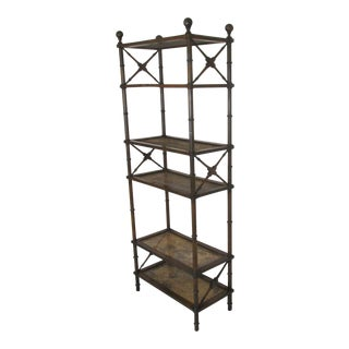 1970s Directoire Style Wooden and Rattan Etagere