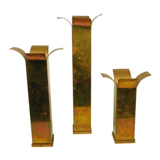 Vintage Mid Century Modern Brass Candle Stick Holders-Set of 3 For Sale