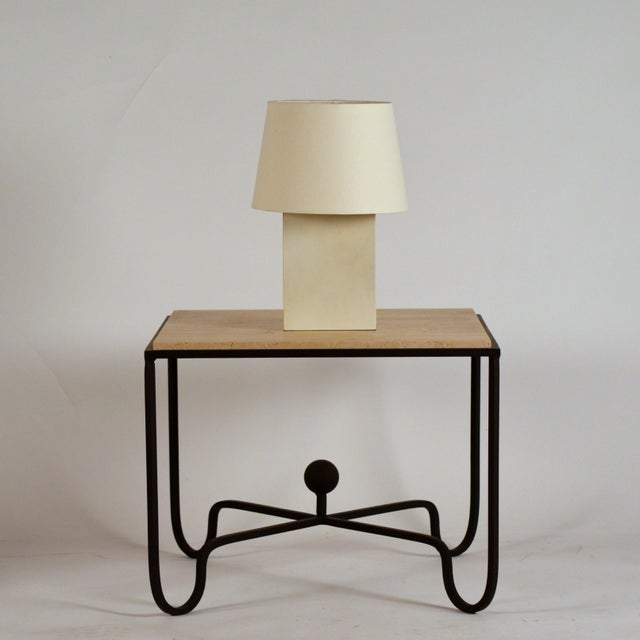Pair of 'Bloc' parchment table lamp by Design Frères. Attractive European style shade mount with no apparent harp / final....