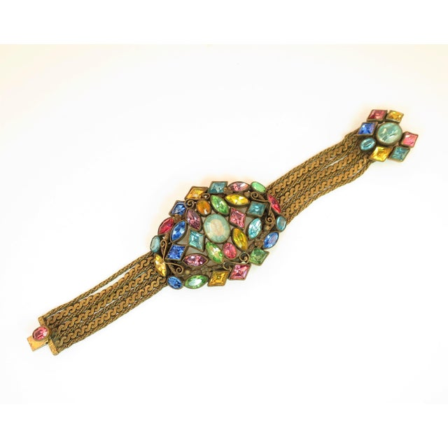 Czech Art Deco Jewel-Tone Bohemian Crystal & Chains Bracelet 1920s For Sale - Image 13 of 13