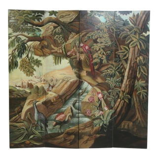 Maitland Smith Hand Painted 4 Section Screen Divider For Sale
