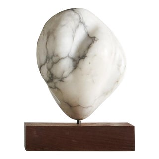 White Marble Sculpture on Wood Base For Sale