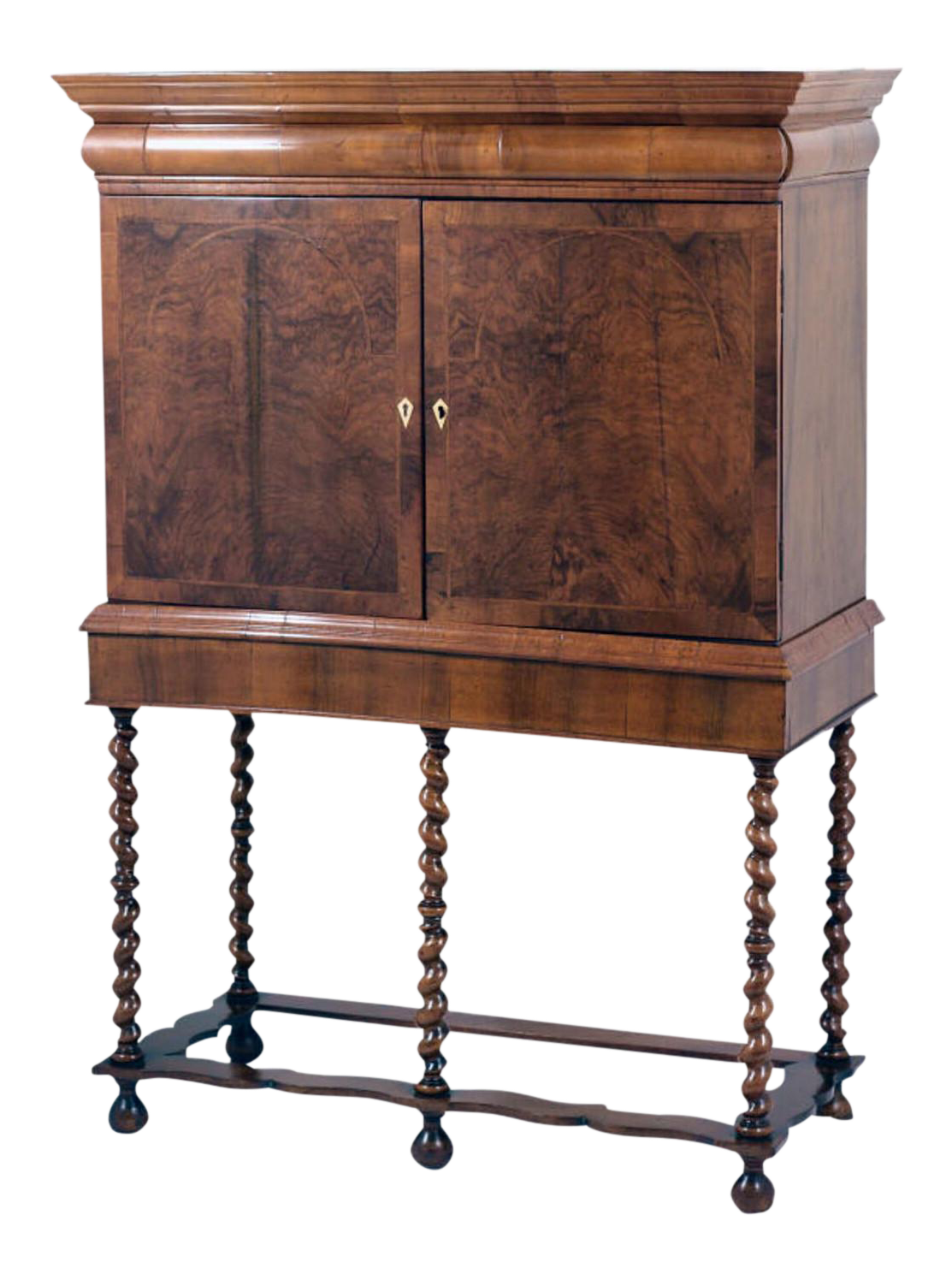 Early 18th Century Queen Anne Collectors Cabinet On Stand