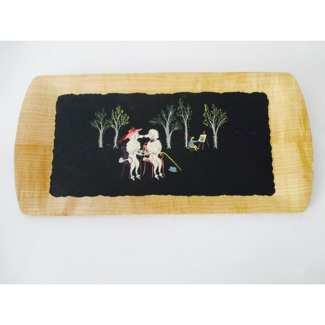 Blue French Serving Tray - Set of 4 Poodles Dogs French Poodle Fifi and Pepe For Sale - Image 8 of 9