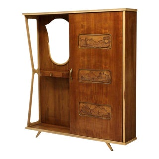 Italian Mid-Century Modern Entryway Coat Cabinet For Sale
