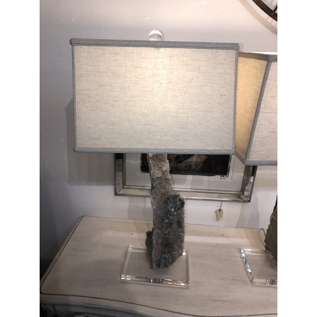 A pair of one of a kind crystal lamps with rectangular shades. The shades sit at slightly different heights: Left: 29.5 to...