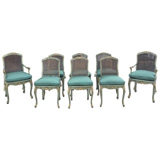 Teal & Gold Caned French Chairs - Set of 8
