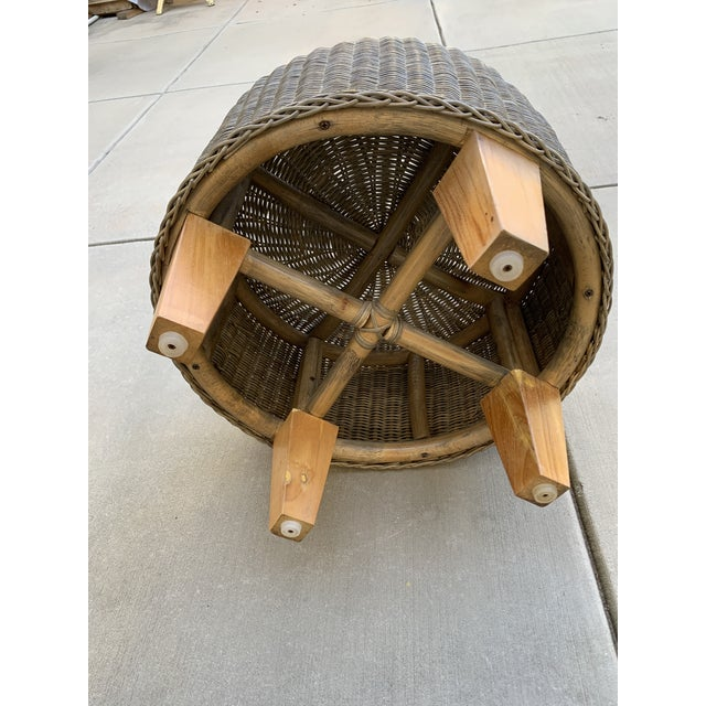 Rustic Wicker Wood Ottoman Footstool For Sale In Los Angeles - Image 6 of 10
