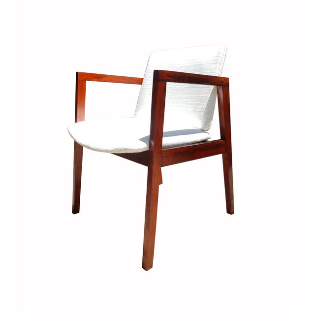 Mid-Century White & Red Wood Office Armchair - Image 3 of 6
