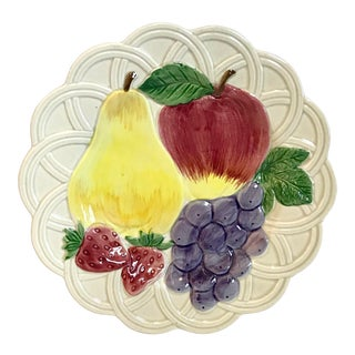 Vintage Japanese Hand Painted Ironstone Fruit Plate For Sale