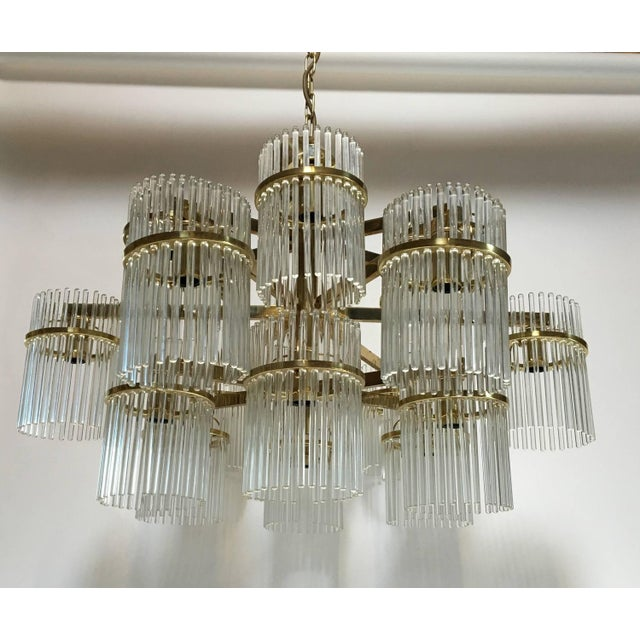 Modern Large 18 Arm Brass and Glass Chandelier by Gaetano Sciolari For Sale - Image 3 of 3