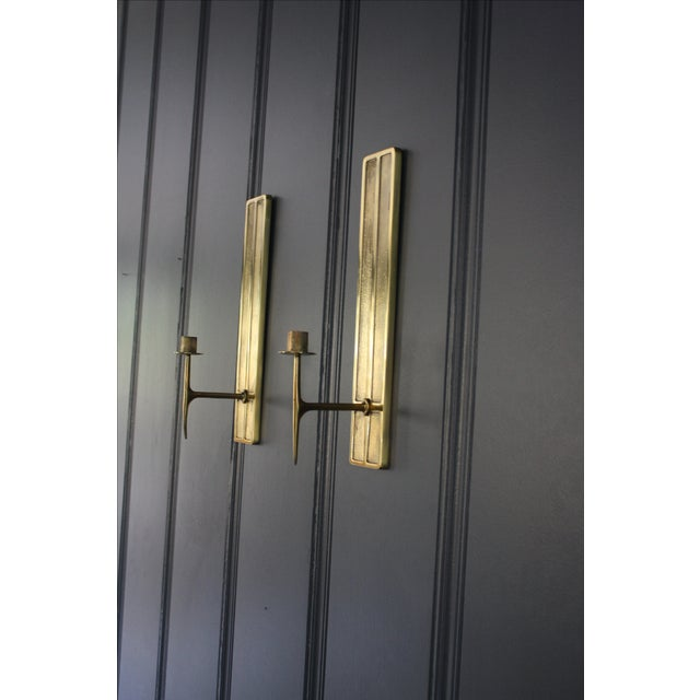 Mid-Century Modern Brass Candle Sconces - A Pair For Sale - Image 4 of 6