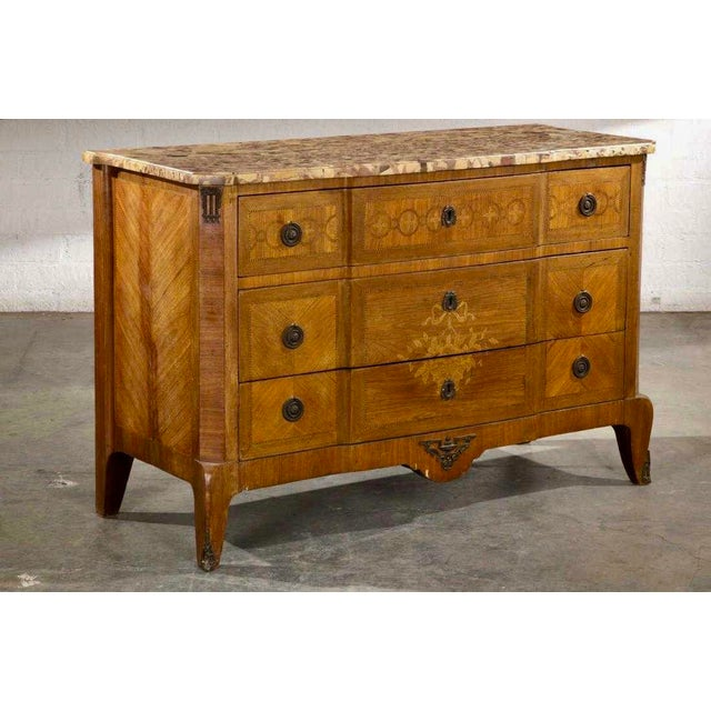 Antique Louis XV/XVI Transitional Style Walnut Inlaid Commode W Breche d'Alep Marbletop.
