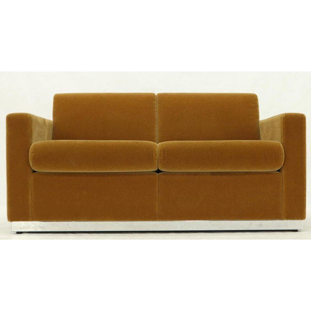 Mohair Loveseat on High Polish Stainless Steel Base Ward Bennet for Brickel For Sale - Image 11 of 12