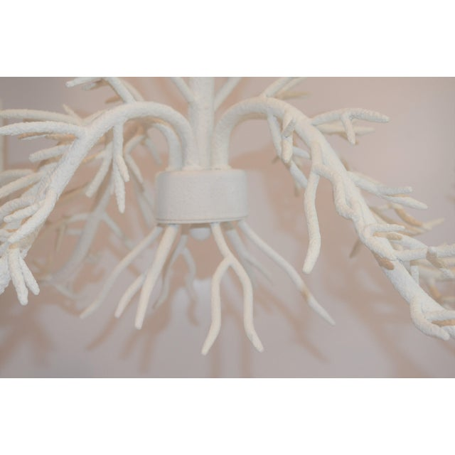 White 5 Arm Faux Coral Chandelier For Sale - Image 9 of 10