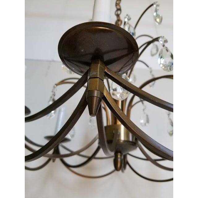 Bronze Mid-Century Modern Crystal Swedish Chandelier For Sale - Image 8 of 13