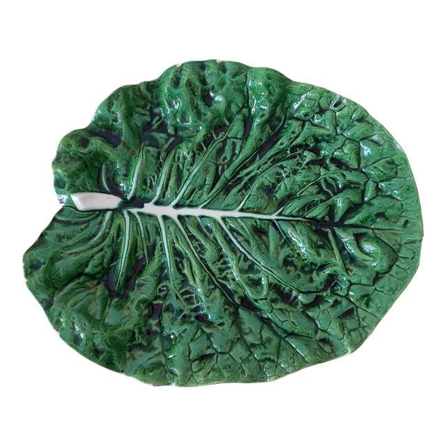 Bordallo Pinheiro Majolica Cabbage Ware Platter For Sale