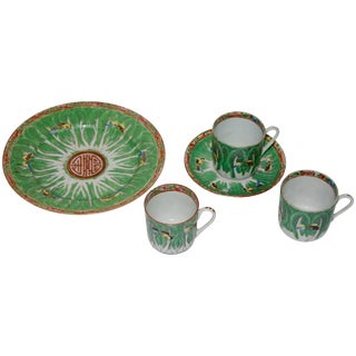Famille Verte Set of Porcelain Cabbage and Butterfly Pattern Cups and Plates For Sale