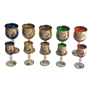 24 Kt Gold Painted Murano Style Minoli Wine and Shot Glass Set - Set of 10 For Sale