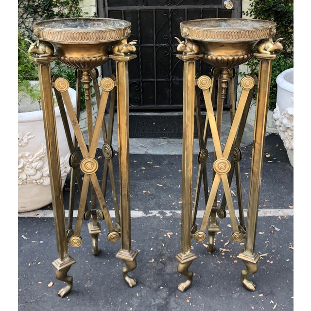 Empire Pair of Antique Empire French Bronze Braziers W Bunny Rabbits For Sale - Image 3 of 7