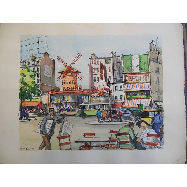 Original Vintage Signed Watercolor 'Moulin Rouge on Place Blanche in Montmartre' - Image 2 of 3