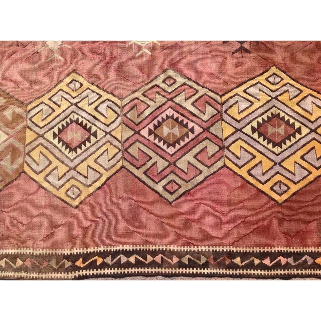 "Vintage Turkish Kilim Rug - 5'6"" X 11'1"" - Image 5 of 6"