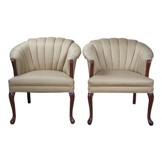 Late 20th Century Art Deco Style Channel Back Club Arm Accent Queen Anne Barrel Chairs - Set of 2 For Sale