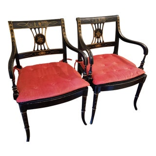 1920s Vintage Regency Style Black and Gold Arm Chairs- A Pair For Sale