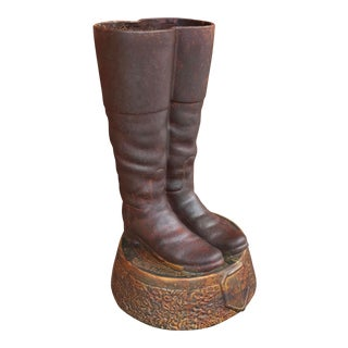 Global Views Ceramic Riding Boots Umbrella Stand For Sale