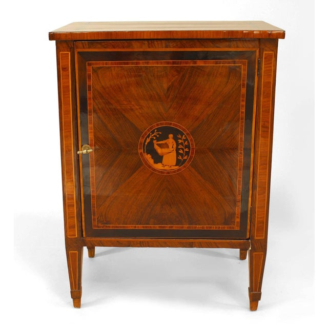 Italian Neoclassical (18/19th Cent) kingwood veneer small commode with a single drawer and inlaid trim and medallion on...