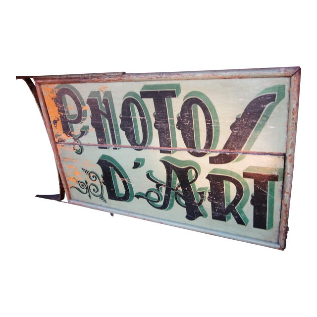 "1920s Classic French Art Deco Sage Green Painted 2-Sided ""Photos D'Art"" Shop Sign For Sale"