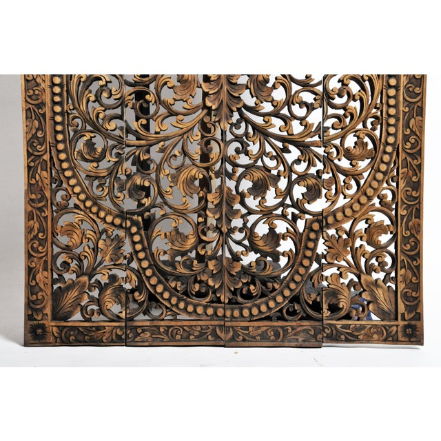 Southeast Asian Carved Teak Flower Panel For Sale In Chicago - Image 6 of 13