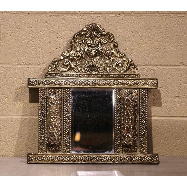 19th Century French Napoleon III Repousse Brass Wall Mirror With Brushes For Sale In Dallas - Image 6 of 6