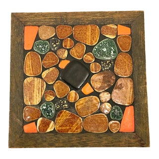 1960s Mosaic and Wood Trivet