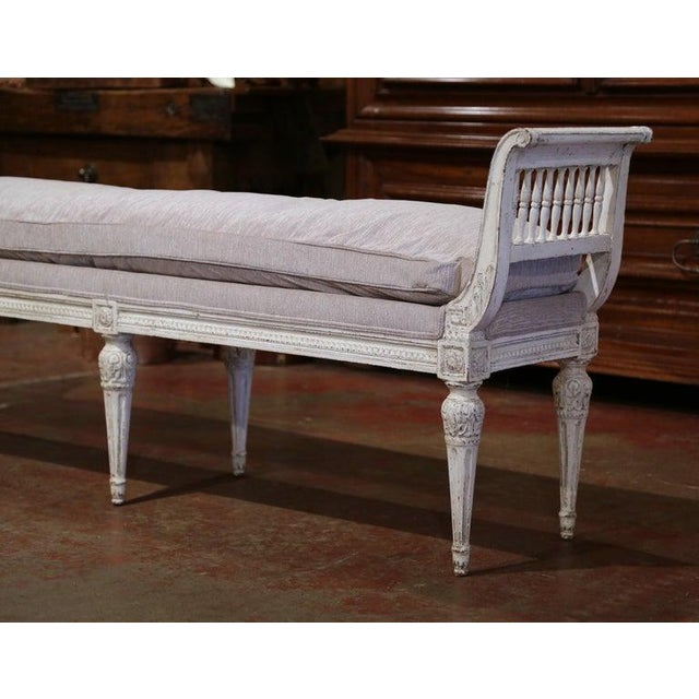 19th Century French Directoire Carved Painted Banquette With Back and Upholstery For Sale - Image 4 of 11