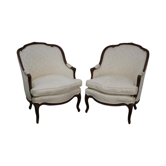 Antique French Louis XV Style Bergere Chairs - Pair - Image 1 of 10