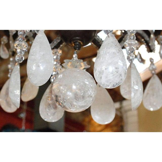 Black Large Six-Light Rock Crystal Chandelier For Sale - Image 8 of 10