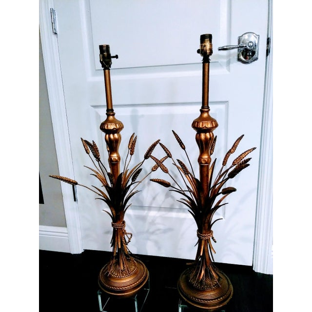 1970s 1970s Hollywood Regency Frederick Cooper Gold Sheaf of Wheat Table Lamps - a Pair For Sale - Image 5 of 6