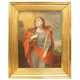 18th Century Italian Oil Painting on Canvas Saint Apollonia With Golden Frame For Sale