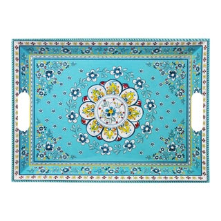 Large Two-Handled Melamine Serving Tray - Madrid Turquoise For Sale