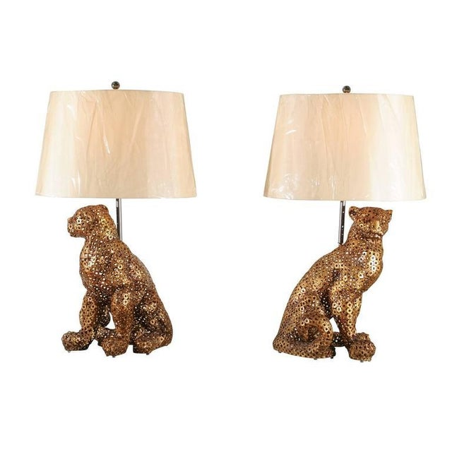 Astonishing Pair of Welded Steel Panthers as Custom Lamps For Sale - Image 11 of 11