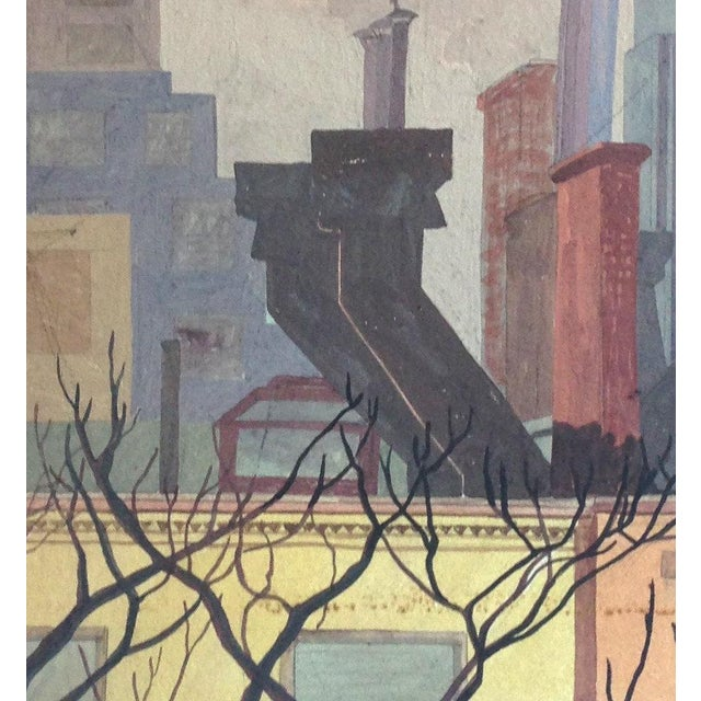 Original Mid-Century Rooftops Painting For Sale - Image 4 of 8