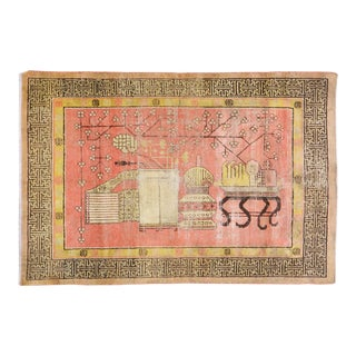 """Antique Khotan Yarkand Hand Knotted Rug With Natural Colors and Design,4'4""""x6'9"""" For Sale"""