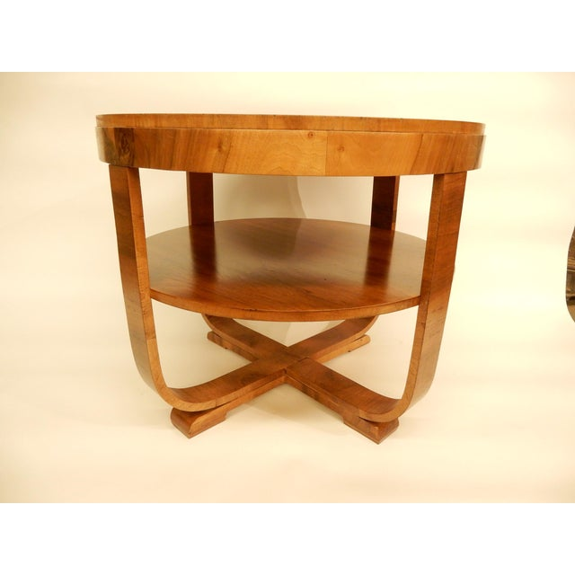 Art Deco Round Art Deco Walnut Side Table For Sale - Image 3 of 7